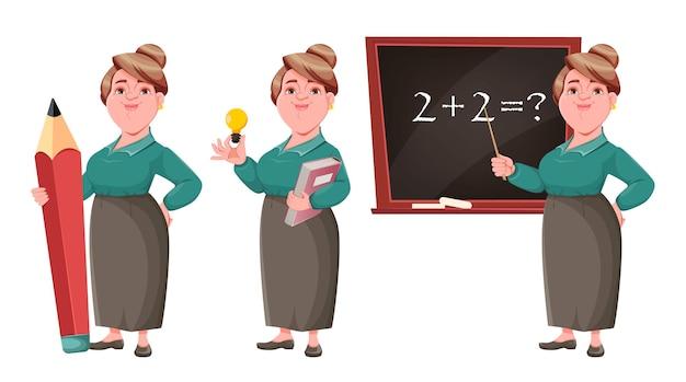 Professora de meia idade e sorridente feliz, conjunto de três poses