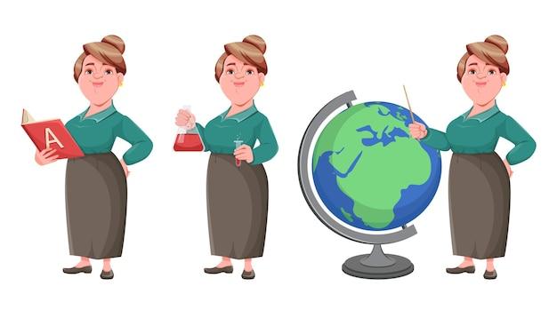Professora de meia idade e sorridente feliz conjunto de três poses