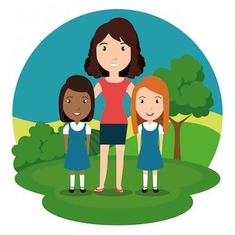 Professora de mulher com os alunos no parque