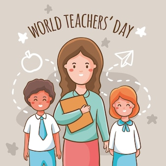 Professora e seus alunos sorrindo