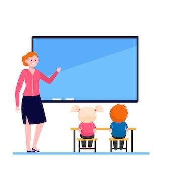 Professora explicando lição para crianças