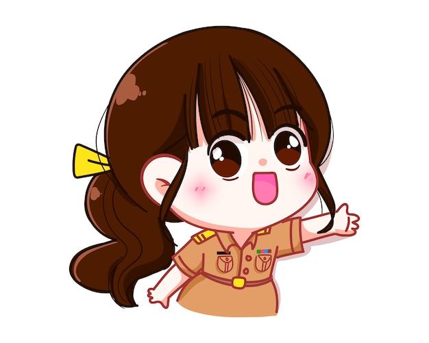 Professora fofa em uniforme do governo, postura de boas-vindas personagem desenho animado ilustração