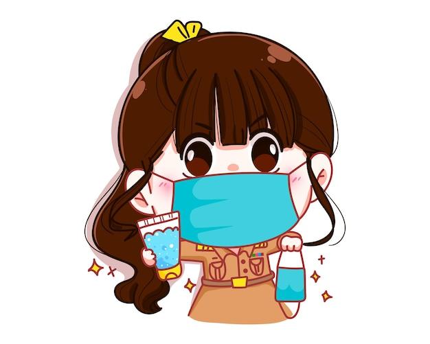 Professora fofa em uniforme do governo usando máscara e segurando desinfetante para as mãos e máscara facial personagem de desenho animado.