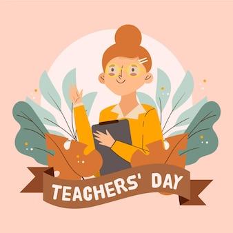 Professora fofa ilustrada segurando uma prancheta