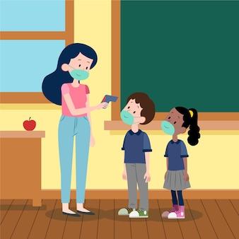 Professora ilustrada verificando a temperatura das crianças