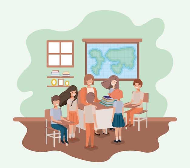 Professora na aula de geografia com os alunos