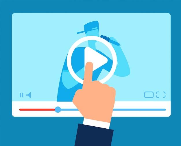 Professora online. educação tutorial sobre streaming.