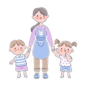 Professora segurando pequenos alunos pelas mãos