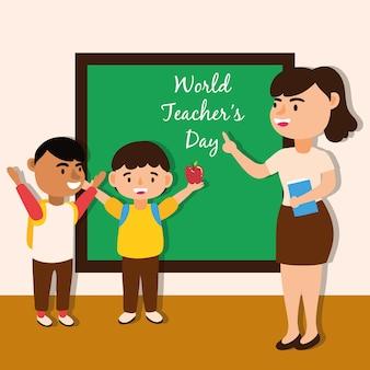 Professora trabalhadora com design de ilustração vetorial de alunos