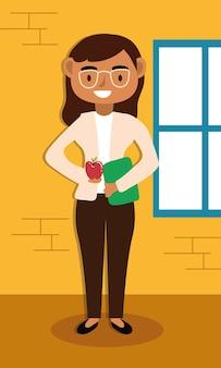 Professora trabalhadora com design de ilustração vetorial de personagem de óculos