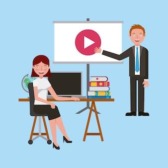 Professores com livros de computador de tela de vídeo