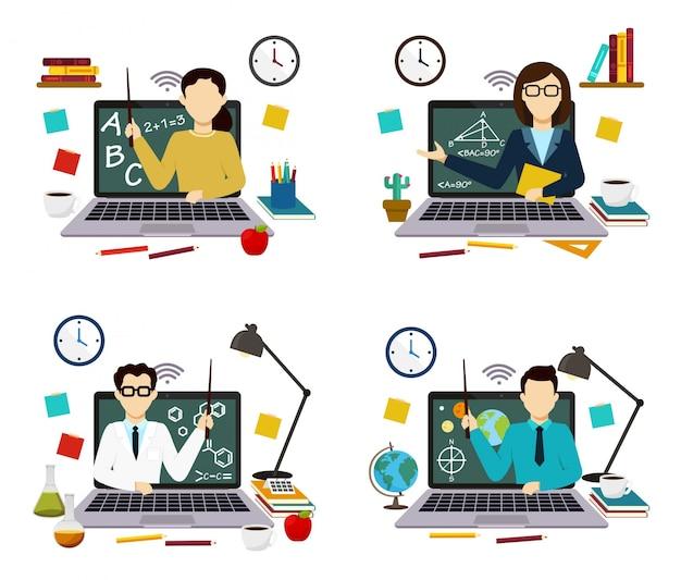 Professores da web de matemática, ciências, química, geografia, aulas escolares