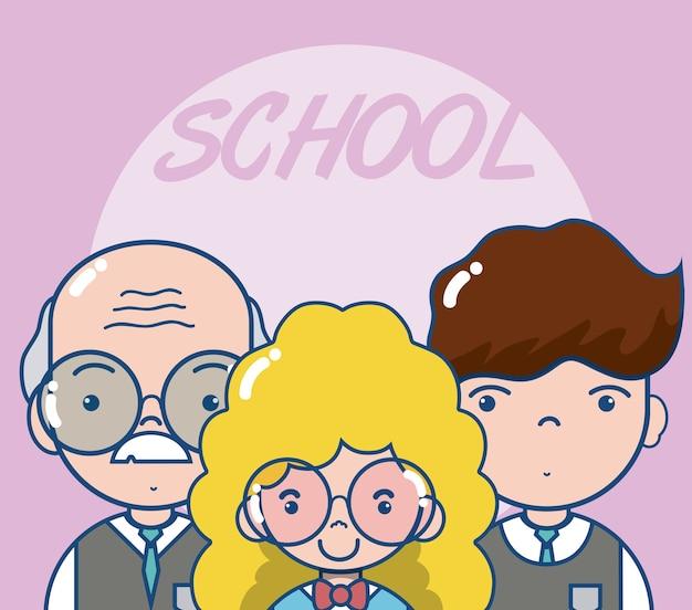 Professores de escola e alunos bonito dos desenhos animados