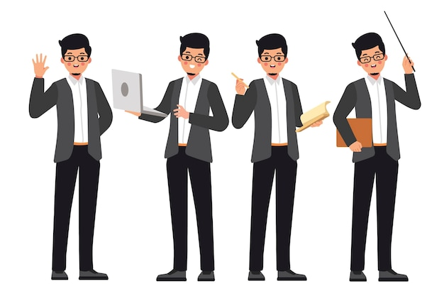Professores do sexo masculino prontos para orientar os alunos
