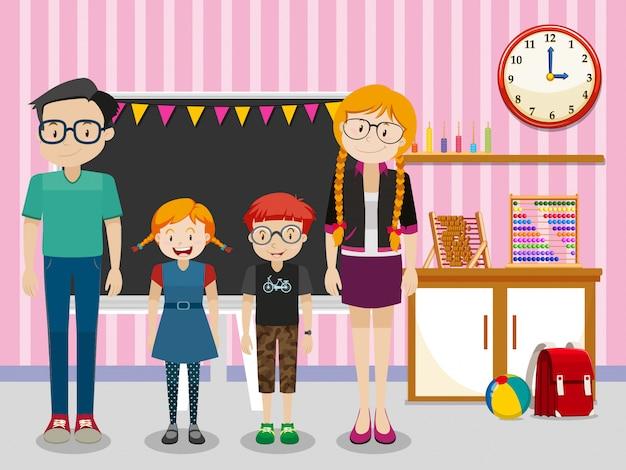 Professores e alunos na sala de aula