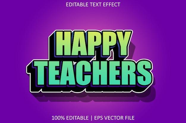 Professores felizes com efeito de texto editável de estilo moderno