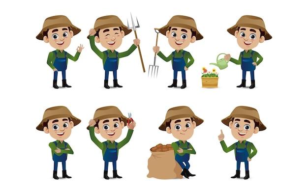 Profissão - agricultor com diferentes poses