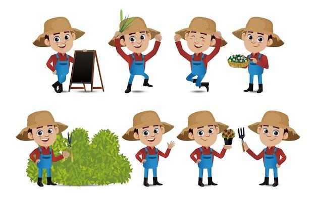 Profissão agricultor com poses diferentes