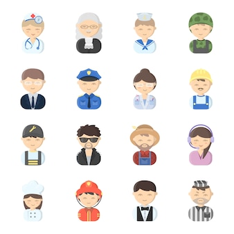 Profissão cara dos desenhos animados icon set vector. ilustração em vetor de pessoas de rosto de profissão.