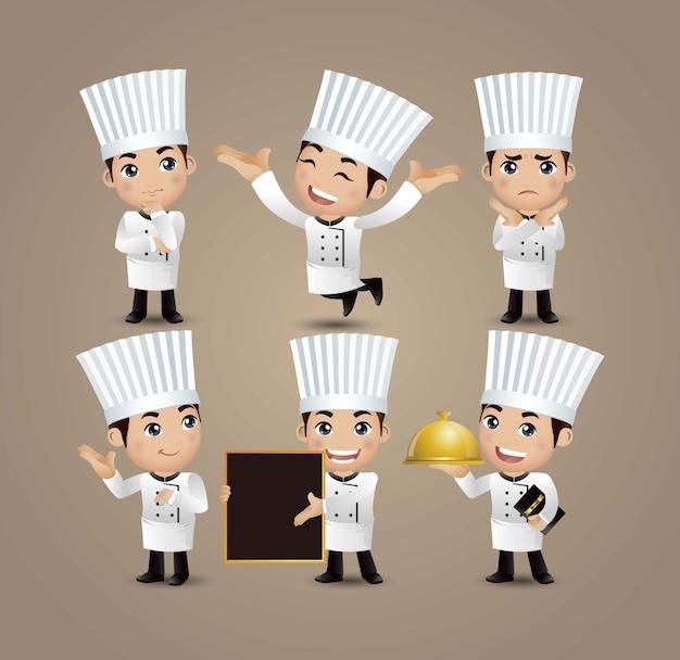 Profissão - chef com diferentes poses