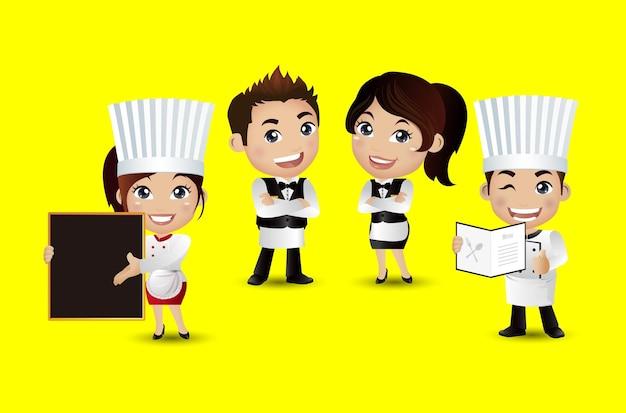 Profissão chef com diferentes poses