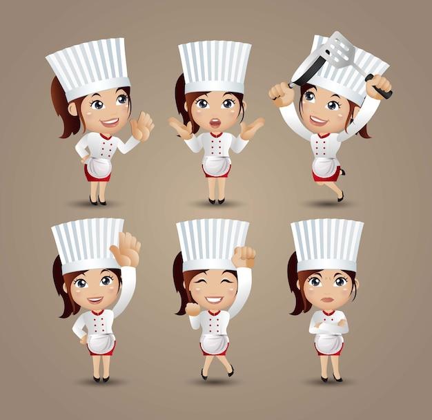 Profissão chef com poses diferentes