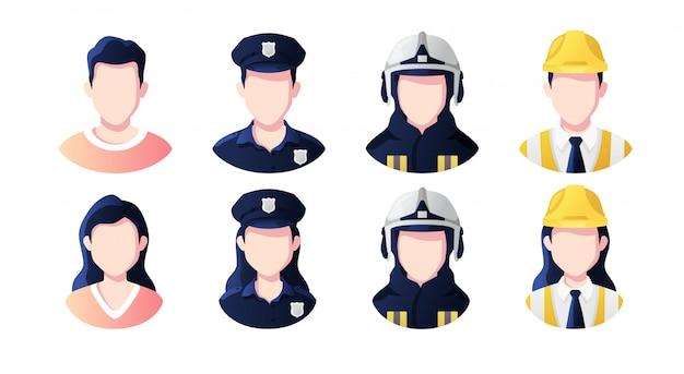 Profissão, conjunto de avatares de pessoas de ocupação. policial, construtor, bombeiro.
