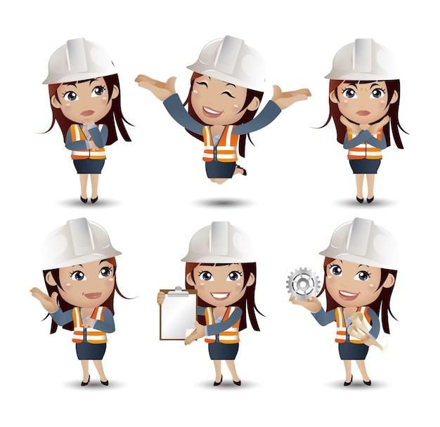 Profissão - construtor. trabalhador. engenheiro com diferentes poses