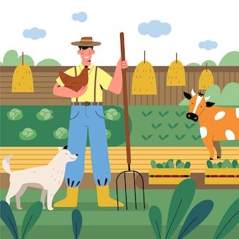 Profissão de agricultura plana orgânica