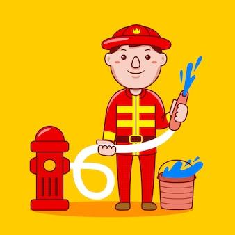 Profissão de bombeiro homem em estilo cartoon plana
