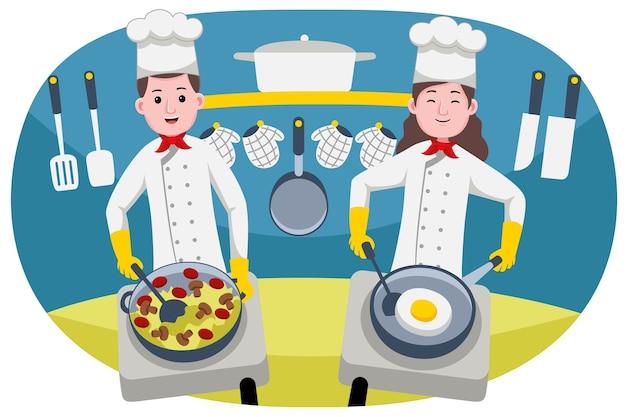 Profissão de casal de chefs