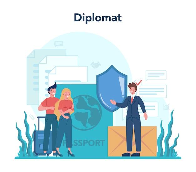 Profissão de diplomata. idéia de relações internacionais e governo.