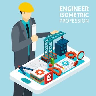 Profissão de engenheiro conceito isométrica banner