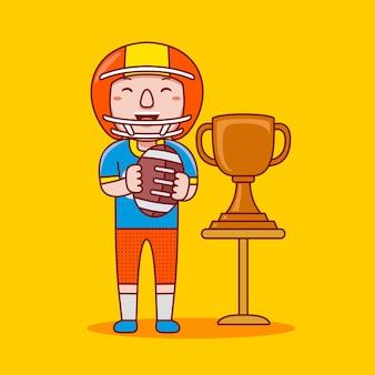 Profissão de jogador de futebol americano masculino em estilo cartoon plana