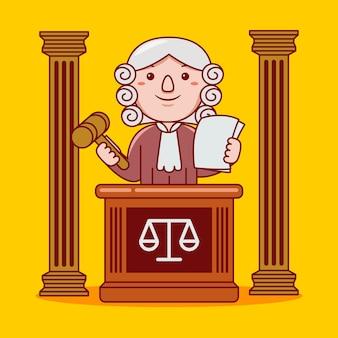 Profissão de juiz homem em estilo cartoon plana