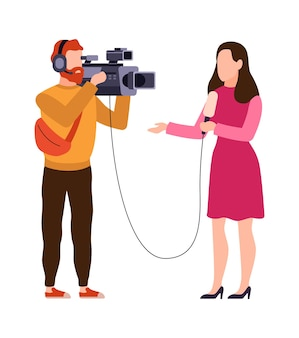 Profissão de locutor e jornalista. operador com fones de ouvido segura a câmera e o repórter com microfone grava notícias, filma, filma e entrevista personagens de vetor plano de desenho animado