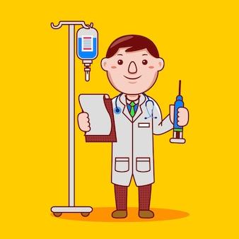 Profissão de médico homem em estilo cartoon plana