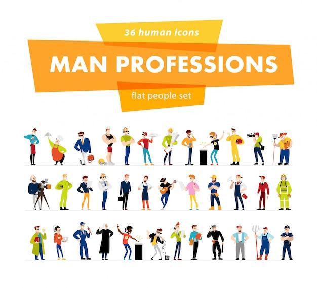 Profissão de personagens masculinos. ilustração em vetor plana.