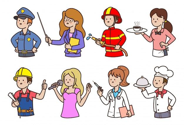 Profissão de pessoas dos desenhos animados