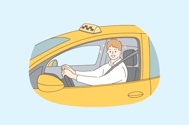 Profissão de taxista durante o conceito de trabalho