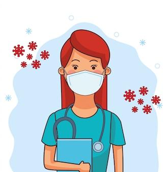 Profissão de trabalhador médico feminino usando máscara facial