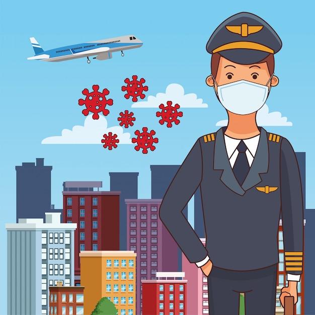 Profissão de trabalhador piloto usando máscara facial