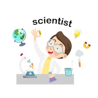 Profissão scientist.vector ilustração.