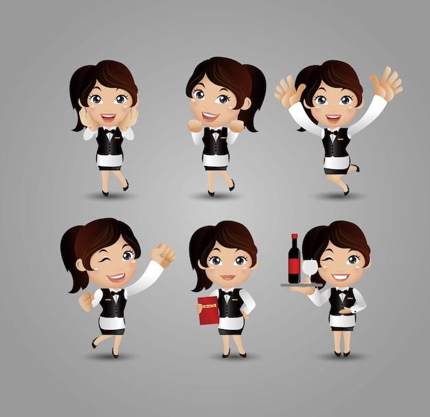 Profissão - servidor com diferentes poses