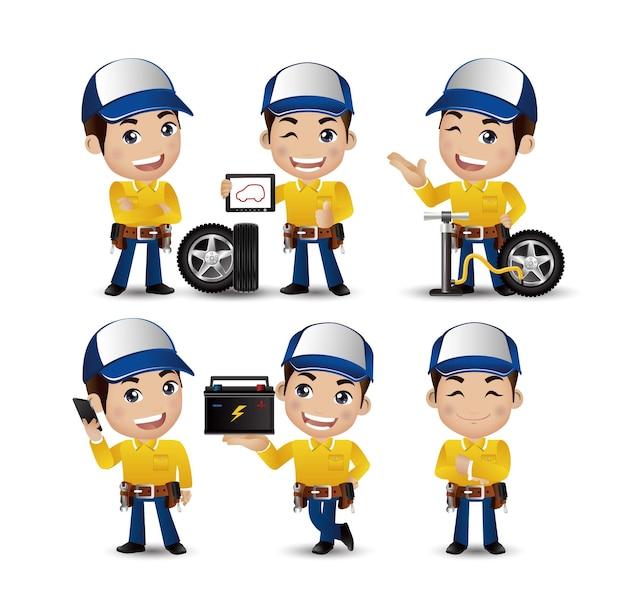 Profissão - técnico com diferentes poses