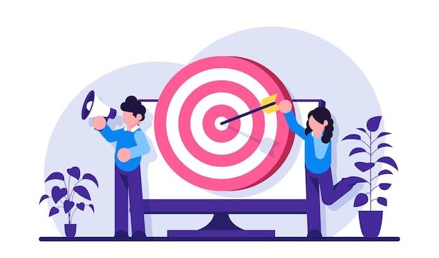 Profissionais de marketing masculinos e femininos anunciam um produto ou serviço. alvo atingido por uma seta na tela do monitor.