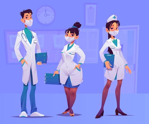 Profissionais de saúde de desenhos animados