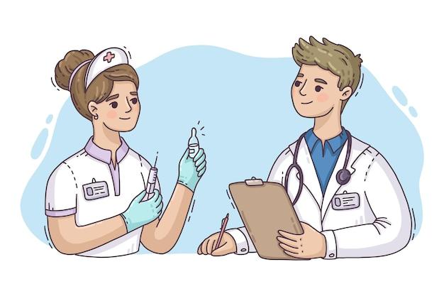 Profissionais de saúde desenhados à mão