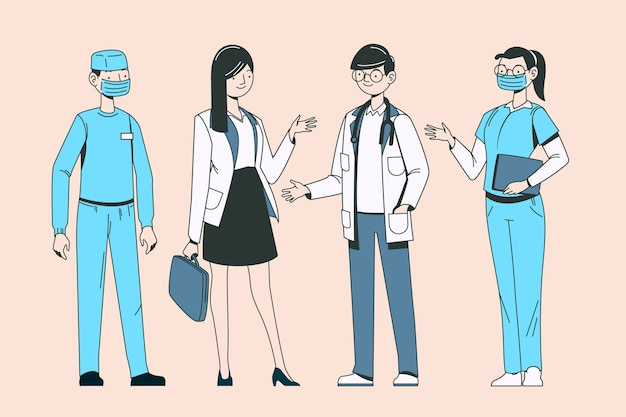 Profissionais de saúde mão desenhada design