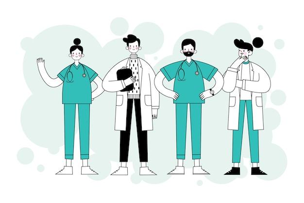 Profissionais de saúde mão estilo desenhado